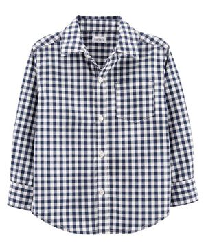 Carter's Gingham Poplin Button-Front Shirt- Navy Blue White