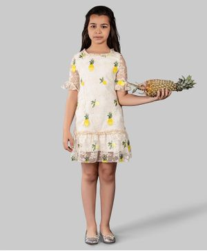 One Friday Pineapple Embroidered Half Sleeves Ruffle Tulle Dress  - Off White