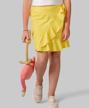 One Friday Solid Skirt With Side Bow Knot - Yellow