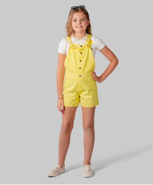 One Friday Sleeveless Knot Detailed Solid Dungaree - Yellow