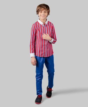 One Friday Full Sleeves Striped Shirt - Red