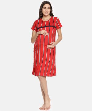 Goldstroms Striped Half Sleeves Nursing Nighty - Red