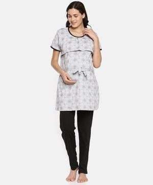 Goldstroms Stars Printed Half Sleeves Top With Bottom - Grey & Black