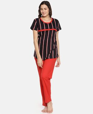Goldstroms Striped Half Sleeves Top With Bottom - Black & Red