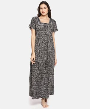 Goldstroms Half Sleeves Geometric Print Maternity Night Dress - Black