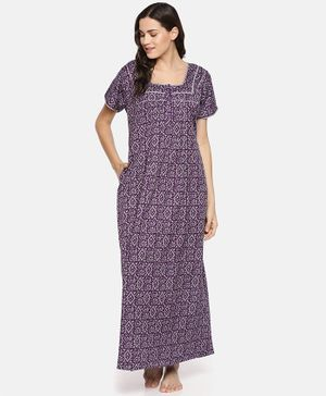 Goldstroms Half Sleeves Geometric Print Maternity Night Dress - Purple