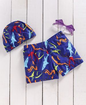 Yellow Bee Fish Print Trunks With Cap - Blue