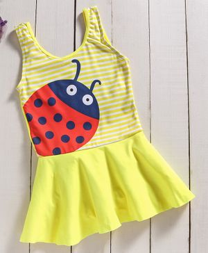 Yellow Bee Lady Bug One-Piece Sleeveless Swimsuit - Yellow