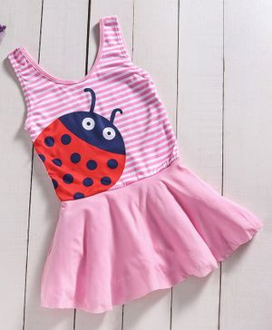 Yellow Bee Lady Bug One-Piece Sleeveless Swimsuit - Pink