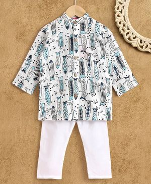 Babyhug Full Sleeves Kurta Pyjama Set Fish Print - Blue White