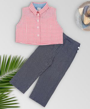 oui oui Sleeveless Gingham Checked Crop Top With Pants - Pink Grey