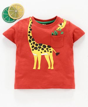 Spark Half Sleeves Tee Giraffe Print - Red