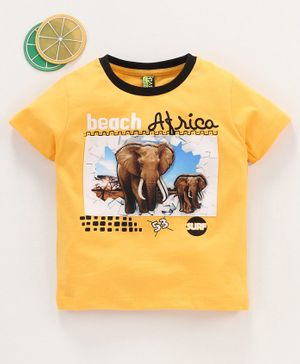 Spark Half Sleeves Tee Elephant Print - Yellow