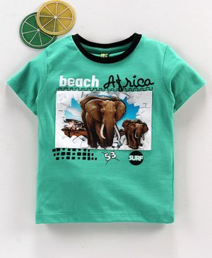 Spark Half Sleeves Tee Elephant Print - Green