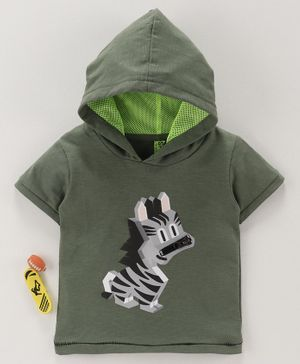 Spark Half Sleeves Hooded Tee Zebra Print - Green