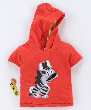 Spark Half Sleeves Hooded Tee Zebra Print - Orange