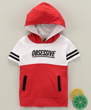 Spark Half Sleeves Hooded Tee - Red