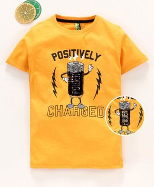 Spark Half Sleeves Tee Battery Embroidered - Yellow