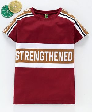 Spark Half Sleeves Tee Text Print - Maroon