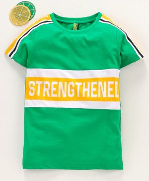Spark Half Sleeves Tee Text Print - Green