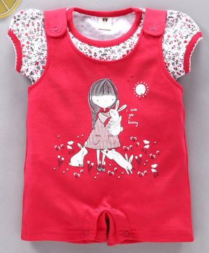 ToffyHouse Dungaree style Romper with Puff Sleeves Top Doll Print - Red White