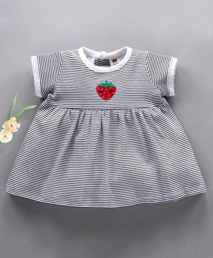 Toffyhouse Half Sleeves Striped Frock Strawberry Embroidery - Navy Blue White