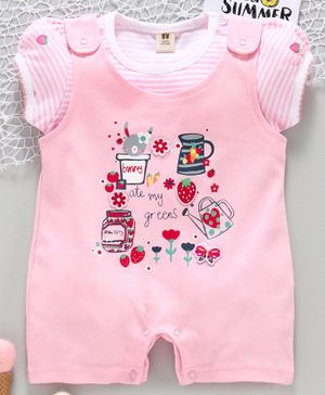 ToffyHouse Dungaree Style Romper with Half Sleeves Striped Tee Strawberry Print - Pink