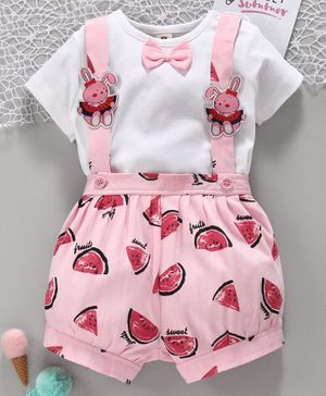 ToffyHouse Half Sleeves Tee with Shorts & Suspenders Watermelon Print - White Pink