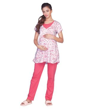 Kriti Half Sleeves Maternity Night Suit Floral Print - Pink