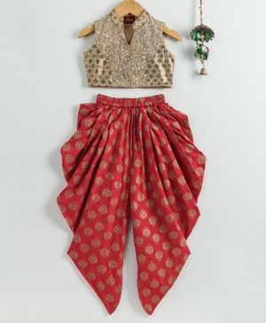 Twisha Sleeveless Sequin Detailed Crop Top With Motif Print Dhoti - Beige Red