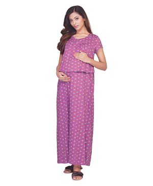 Kriti Half Sleeves Maternity Nighty Floral Print - Purple