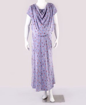 Kriti Short Sleeves Maternity Nighty Floral Print - Purple