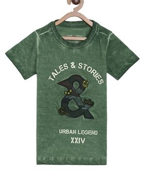 Tales & Stories & Patch Half Sleeves T-Shirt - Green