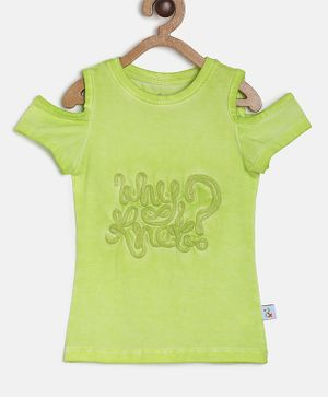 Tales & Stories Half Sleeves Text Patch Top - Green