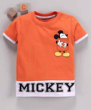 Babyhug Half Sleeves Tee Mickey Mouse Print - Orange