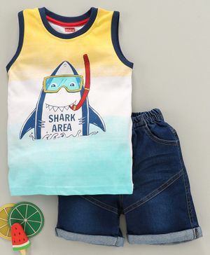 Babyhug Sleeveless Tee & Denim Shorts Shark Print - White Blue