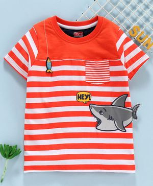 Babyhug Half Sleeves Stripe Tee Fish Patch - Orange White