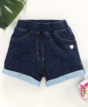 Little Kangaroos Ribbed Waist Shorts - Dark Blue