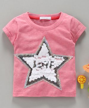 Little One Half Sleeves Top Star Sequin Patch - Pink