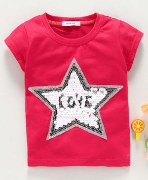 Little One Half Sleeves Top Star Sequin Patch - Dark Pink
