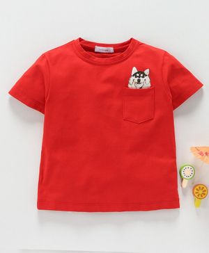 Little One Half Sleeves Tee With Pocket Print - Red