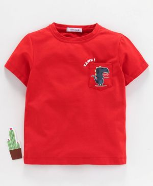 Little One Half Sleeves Tee Dino Print - Red