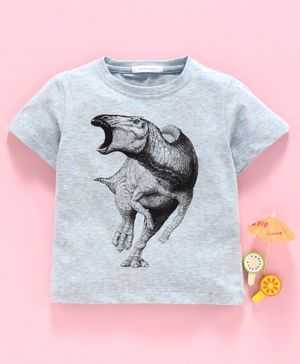 Little One Half Sleeves Tee Dinosaur Print - Light Blue