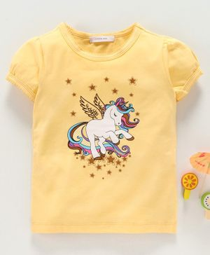 Little One Short Sleeves Tee Unicorn Print - Yellow