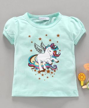 Little One Short Sleeves Tee Unicorn Print - Sea Green