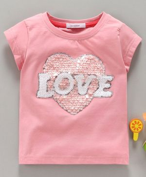 Little One Short Sleeves Top Love Sequin Patch - Pink