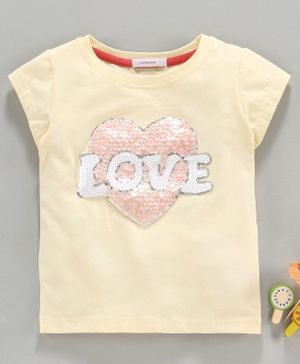 Little One Short Sleeves Top Love Sequin Patch - Cream