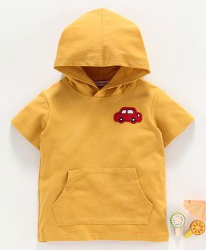 Little One Half Sleeves Hooded Tee Car Patch - Yellow