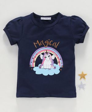 Little One Half Sleeves Top Unicorn Print - Navy Blue