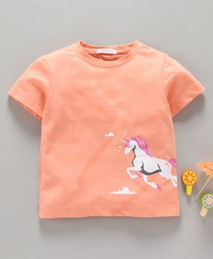 Little One Half Sleeves Tee Unicorn Print - Peach